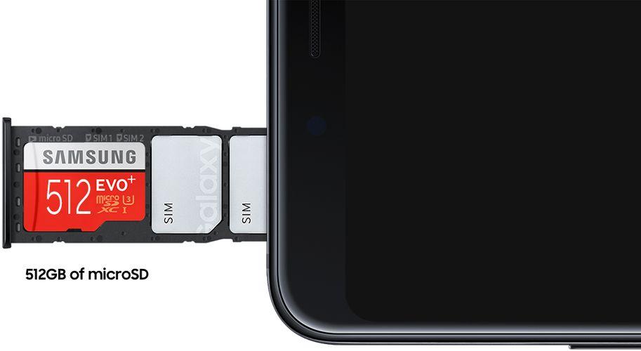 34fefe504 Galaxy A9 navíc nevyužívá hybridní řešení slotu, i se dvěma SIM kartami  tedy stále máte možnost navýšit kapacitu 128 GB úložiště pomocí microSD  karty až o ...