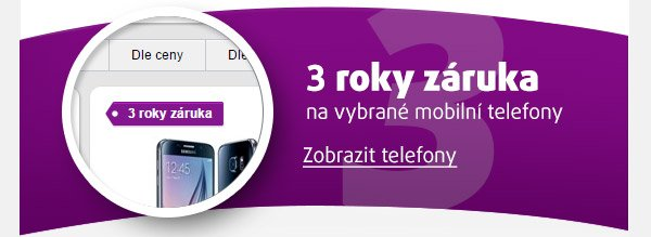 3 Roky záruky na vybrané mobilní telefony