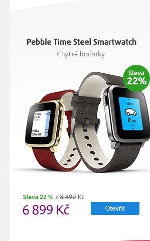 Chytré hodinky Pebble Time Steel Smartwatch